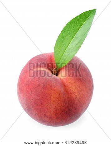 Sweet Juicy Peach With Leaf On White Background