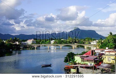 Mahebourg, Mauritius - Jan 5, 2017. River Scene With A Village In Mahebourg, Mauritius. Mahebourg Is
