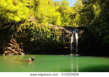 Waterfall At Huerquehue And Puyehue National Park, Pucon - Chile. Patagonian Waterfall With Rainfore
