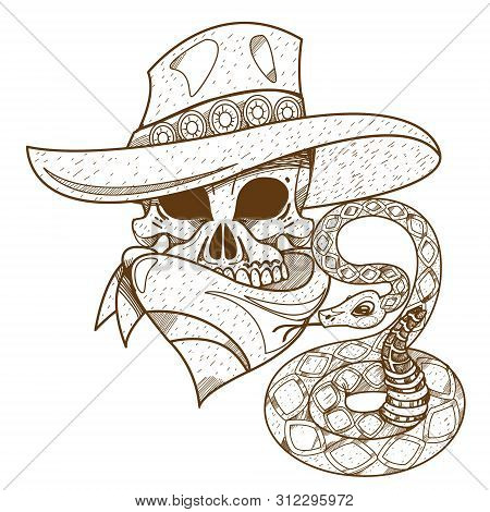 Skull In A Hat. Cowboy. Wild West Theme Illustration.