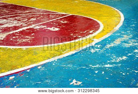 The Arch Of Three Point Line And Foul Line With Free Throw Or Restraining Circle Of Basketball Court