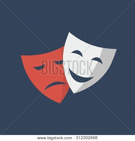 Mask Theatre Isolated On Blue Background. Mask Theatre Drama Actor Symbol Logo Icon Flat. Vector Sto