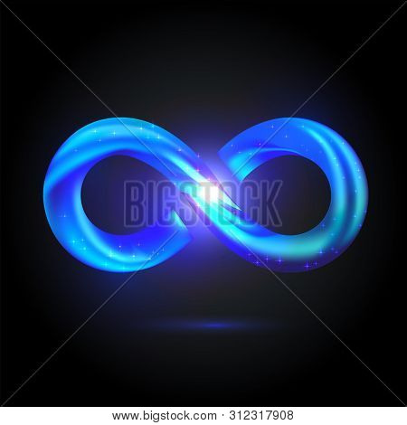 Shining Volume Infinity Symbol With White Fire Inside. Bright Blue Fusion Swoosh Sign. Vector 3d Ill
