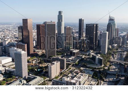 Los Angeles, California, USA - August 6, 2016:  Cityscape aerial of buildings and streets in downtown Los Angeles.
