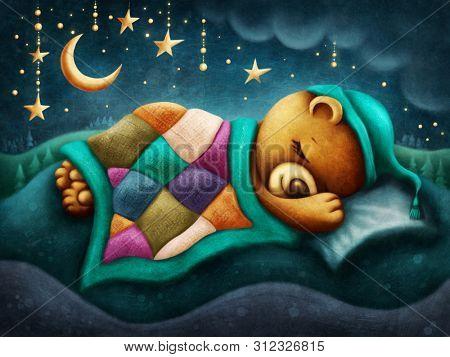 Illustration of a cute sleeping bear