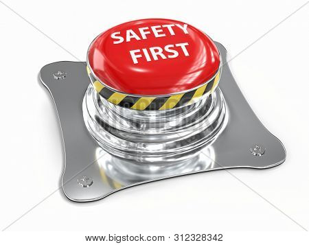 3D render of metal push button with red upper face and white text spelling Safety First on white background