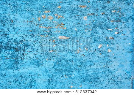 Blue Abstract Metallic Background. Rust And Scratch.