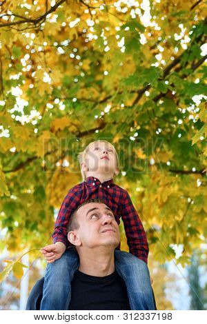 Blond Boy In A Plaid Shirt Sits On His Father's Shoulders. Look Up. Autumn Concept