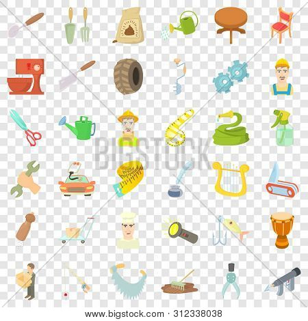 Handicraft Icons Set. Cartoon Style Of 36 Handicraft Vector Icons For Web For Any Design
