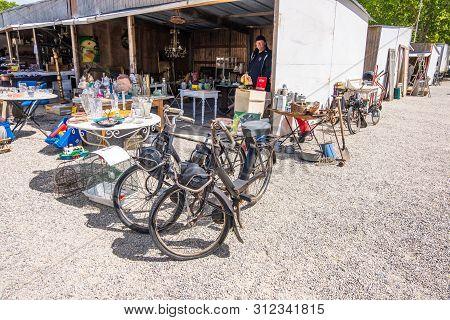 Bordeaux, France - May 5, 2019: Famous Bordeaux Flea Market Marche Aux Puces In Historic Centre Of B