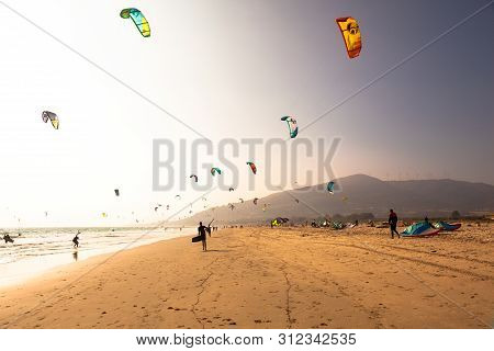 Tarifa Beach. Kite Surfing Beach In Southern Spain. Costa Del Sol, Andalusia, Spain. Picture Taken 1