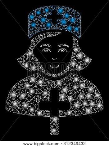 Glowing Mesh Catholic Lady Doctor With Sparkle Effect. Abstract Illuminated Model Of Catholic Lady D