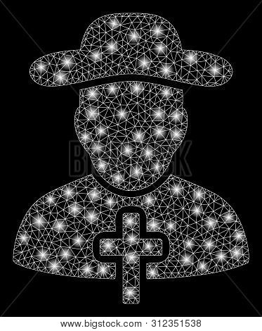 Glossy Mesh Christian Priest With Glare Effect. Abstract Illuminated Model Of Christian Priest Icon.