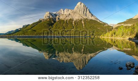 Panoramtic View Of Mt. Lawrence Grassi Mountain Range Near Canmore, Canada