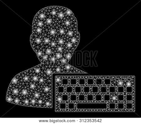 Glowing Mesh Coder With Glare Effect. Abstract Illuminated Model Of Coder Icon. Shiny Wire Frame Tri