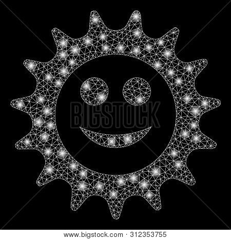 Flare Mesh Cog Glad Smiley With Lightspot Effect. Abstract Illuminated Model Of Cog Glad Smiley Icon