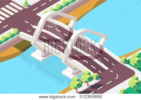 3d Isometric Modern Bridge With Urban Landscape. Concept City Roads With Architecture, Tree And Trav