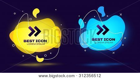 Black Arrow icon isolated on blue background. Direction Arrowhead symbol. Navigation pointer sign. Set of liquid color abstract geometric shapes. Vector Illustration poster