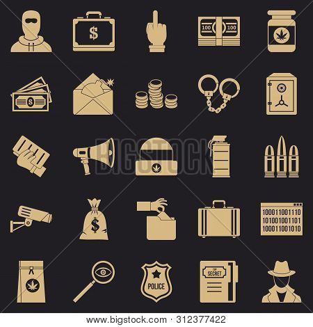 Criminal Offence Icons Set. Simple Set Of 25 Criminal Offence Icons For Web For Any Design