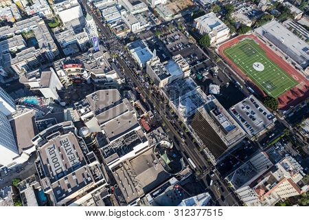 Los Angeles, California, USA - August 6, 2016:  Afternoon aerial view of famous Hollywood Blvd near Highland Av in Hollywood, California.
