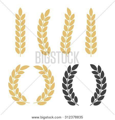 Vector Gold Laurel. Laurel Wreath Award And Golden Ribbon. Award Signs With Laurel Wreath