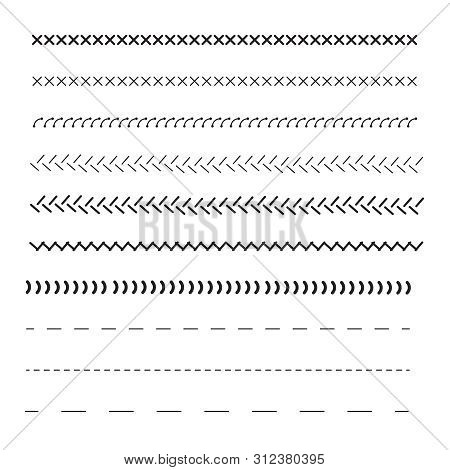 Stitched Borders, Sewing Machine Seams For Fabric. Sewing Machine Stitches Zig Zag Line