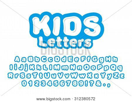Cute Childrens Letters Isolated On White Background. Ready Font, Alphabet For The Design Of Children