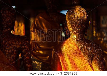 Golden Buddha Statue In Temple. Religious Of Budha.