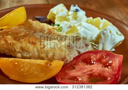 Grilled Snapper With Yoghurt Potatoes,  Close Up Grilled Fish