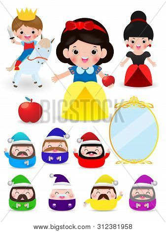 Snow White And The Seven Dwarfs, Snow White On White Background, Prince, Princess And Dwarfs And Wit