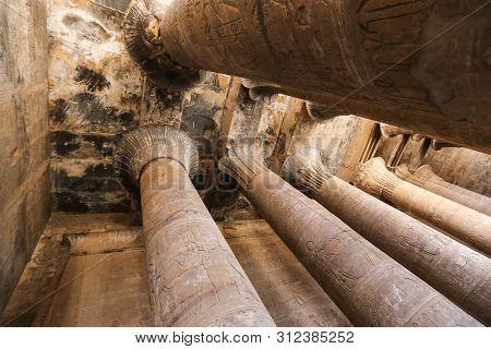 Columns In Edfu Temple, Edfu, Egypt