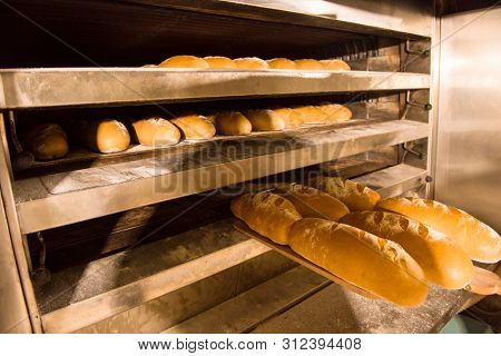 Bread bakery food factory production with fresh products   Baked bread in the bakery, just out of the oven