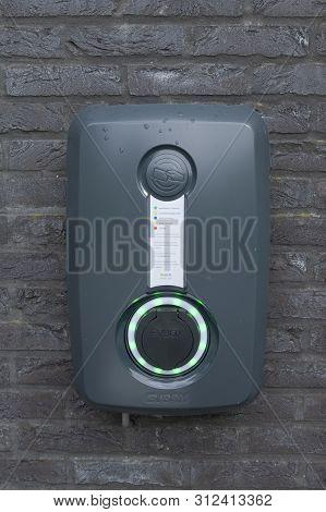 Sint Gillis Waas, Belgium, 20 July 2019. Ev-box Charging Place For An Electric Car