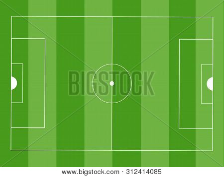 Soccer Green Field.vector Illustration Icons. Aerial View Of Soccer Field With Lines And Goals. Socc