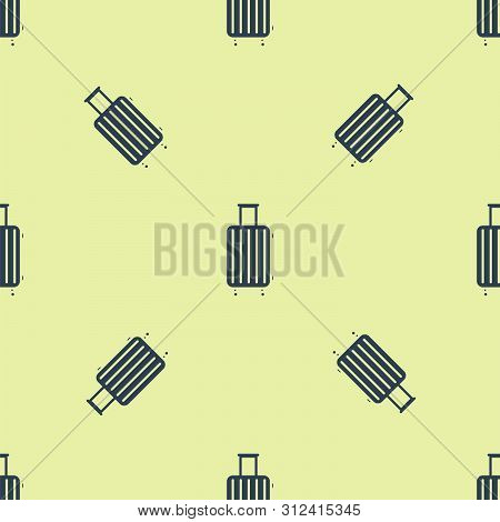 Blue Suitcase For Travel Icon Isolated Seamless Pattern On White Background. Traveling Baggage Sign.