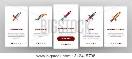 Dagger, Sharp Weapon Onboarding Mobile App Page Screen. Dagger, Dirk, Metal Instrument For Self-prot