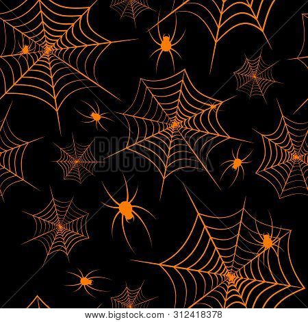 Halloween Theme Spiderweb And Spiders On A Black Background Seamless Pattern Creative Design Backgro