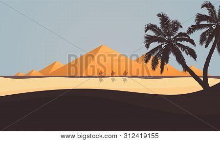 Desert View Of The Egyptian Pyramids, Vector Art Illustration.