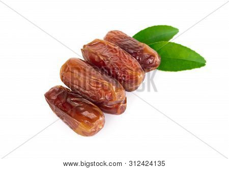 Date Palm Isolated On White Background, Food Healthy Concept