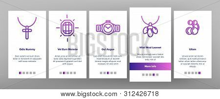 Jewelery Line Icon Set Onboarding Mobile App Page Screen. Diamond Luxury Jewelery Symbol. Gem Elegance Sign. Thin Outline Illustration poster