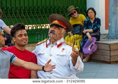 A Man Similar To Joseph Stalin On Nikolskaya Street, 06/22/2019, Moscow, Russia.