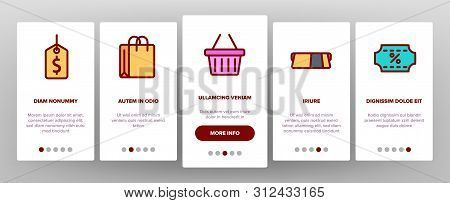 Webshop, Online Shopping Linear Onboarding Mobile App Page Screen. E Commerce Thin Line Contour Symb