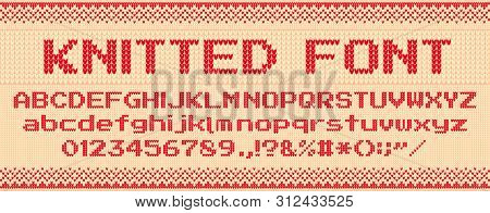 Knitted Font. Christmas Ugly Sweater, Knit Letters And Folk Sweaters Xmas Text Template. Handicraft
