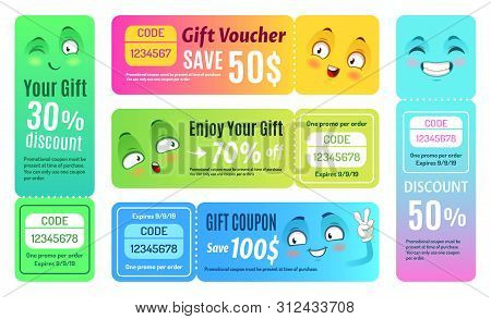 Smiling Promo Voucher. Happy Gift Coupon, Funny Deal Vouchers And Gifts Code Coupons Template. Japan