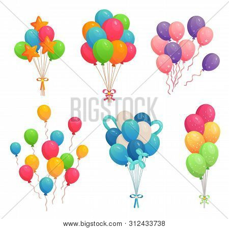 Cartoon Birthday Balloons. Colorful Air Balloon, Party Decoration And Flying Helium Balloons On Ribb