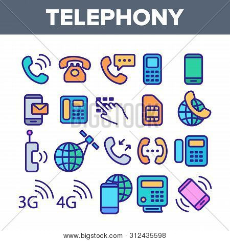 Global Telephony System Linear Icons Set. Telephony, Mobile Technology Thin Line Contour Symbols Pac