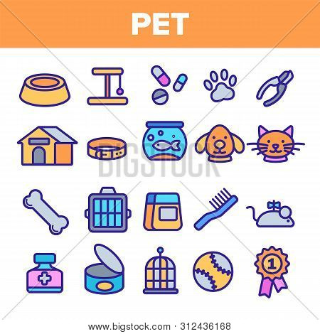 Pet Line Icon Set . Animal Care. Grooming Pet Symbol. Dog, Cat Veterinar Shop Icon. Thin Outline Ill