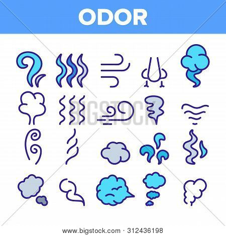 Odor, Smoke, Smell Linear Icons Set. Odor, Hot Cooking Steam, Wind Outline Symbols Pack. Empty Speec