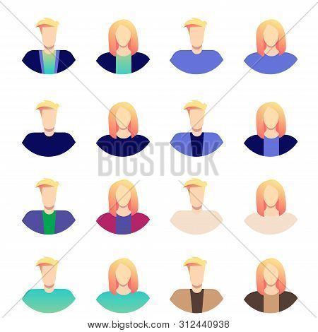 Blonde Business Men And Women Avatar Icons. People Avatar Set Vector. Man, Woman. People User Person