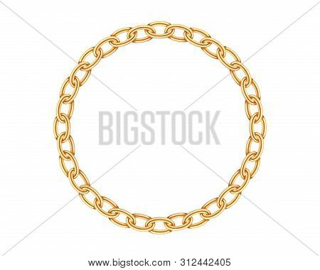 Realistic Gold Circle Frame Chain Texture. Golden Round Chains Link Isolated On White Background. Je